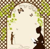 Девушка под романтичной беседкой бесплатная иллюстрация