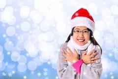 Девушка празднует белое рождество Стоковое фото RF