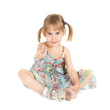 девушка предпосылки меньший большой пец руки вверх по белизне Стоковые Изображения RF