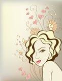 девушка предпосылки флористическая иллюстрация штока