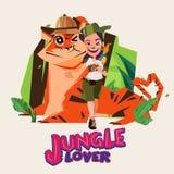 Девушка приключения огромная большой тигр Дизайн характера любовник джунглей иллюстрация вектора