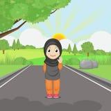 Девушка принимает прогулку в рано утром иллюстрация вектора