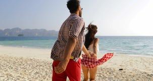 Девушка принимает руку человека водя для того чтобы намочить, соединяет ход на пляже, счастливых усмехаясь туристах сток-видео