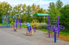 Девушка приниманнсяые за спорт, на улице с спорт тренируя приборы в общественном парке, под открытым небом Осень стоковые фото
