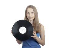 Девушка при диск винила, изолированный на белизне Стоковые Фотографии RF