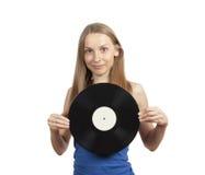 Девушка при диск винила, изолированный на белизне Стоковая Фотография RF