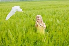 Девушка при сеть бабочки имея потеху Стоковые Фотографии RF
