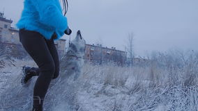 Девушка при собака бежать через парк акции видеоматериалы