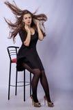 Девушка при beatifull летая длинные волосы Стоковое фото RF