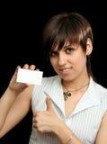 девушка пустой карточки Стоковая Фотография