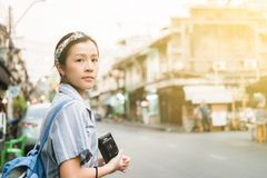 Девушка путешественника стоковые фотографии rf