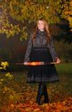 девушка пущи осени Стоковая Фотография RF