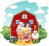 Девушка работая в ферме бесплатная иллюстрация