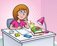 Девушка работая на назначении домашней работы Стоковое Изображение RF