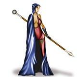 Девушка ратника на изолированной предпосылке Стоковое Изображение RF