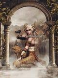 Девушка ратника фантазии с вороном иллюстрация штока