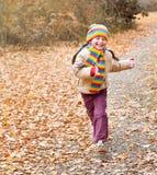 Девушка ребенка бежит на пути в лесе, предпосылке листьев осени, сезоне падения Стоковая Фотография RF