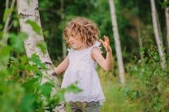 Девушка ребенка играя с деревом березы в лесе лета Стоковые Изображения