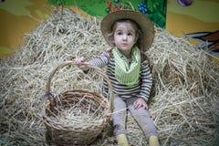 Девушка ребенк ковбоя Стоковые Фото