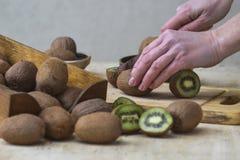 Девушка режет зрелый киви Демонстрация плодоовощ стоковые фотографии rf