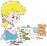 Девушка рисуя смешное изображение лета Стоковые Изображения RF