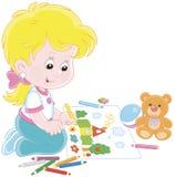 Девушка рисуя смешное изображение Стоковые Изображения RF