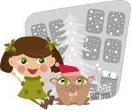 девушка рождества кота Стоковые Изображения RF