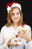 Девушка рождества с подарком рождества стоковые изображения rf