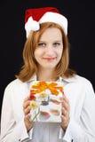 Девушка рождества с подарком рождества стоковые изображения