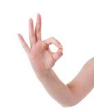 Девушка руки показывает о'кеы Стоковые Изображения
