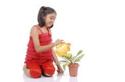девушка садовника меньший мочить завода Стоковые Фото