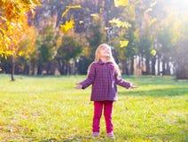 Девушка, сад, осень, понижаясь выходит Стоковая Фотография
