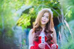 Девушка Санта Клауса азиата Стоковая Фотография RF