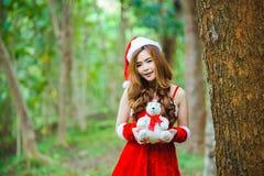 Девушка Санта Клауса азиата Стоковое Изображение RF