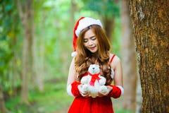 Девушка Санта Клауса азиата Стоковые Фото