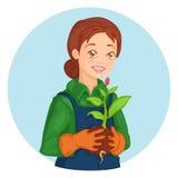 Девушка садовника Иллюстрация вектора