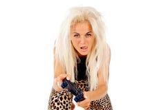 Девушка свирепо видеоигры игр стоковые изображения rf