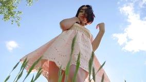 Девушка сексуальная в платье в поле зеленой травы Солнце слепимости солнечного света девушки, образ жизни счастья лета Стоковая Фотография RF