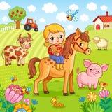 Девушка сидит на лошади и держит кролика в ее руках бесплатная иллюстрация