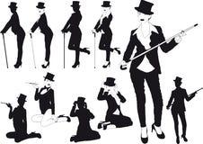 Девушка силуэта в шляпе иллюстрация вектора