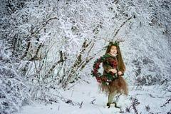 Девушка сказки Портрет маленькая девочка в платье оленей с покрашенной стороной в antler леса зимы большом коричневом стоковая фотография rf