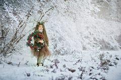 Девушка сказки Портрет маленькая девочка в платье оленей с покрашенной стороной в antler леса зимы большом коричневом стоковые изображения rf