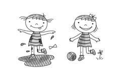 Девушка скача в грязь, игру девушки с шариком бесплатная иллюстрация