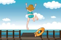 Девушка скача для помощи Стоковое Изображение RF