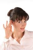 девушка слушает Стоковое Изображение