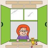 девушка смотря вне окно Стоковые Фото