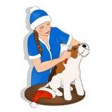 Девушка снега Нового Года собаки Стоковое фото RF