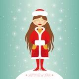 Девушка снега. Поздравительная открытка Стоковые Фотографии RF