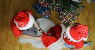 Девушка снега принимает сумку пустого Нового Года от гнома и кладет голову в сумку видеоматериал