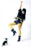 девушка собаки малая Стоковое Изображение